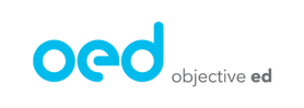 Objective Ed logo with the letters oed in blue and the text objective ed